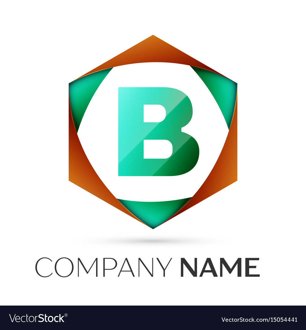 Letter b symbol in the colorful hexagonal vector image