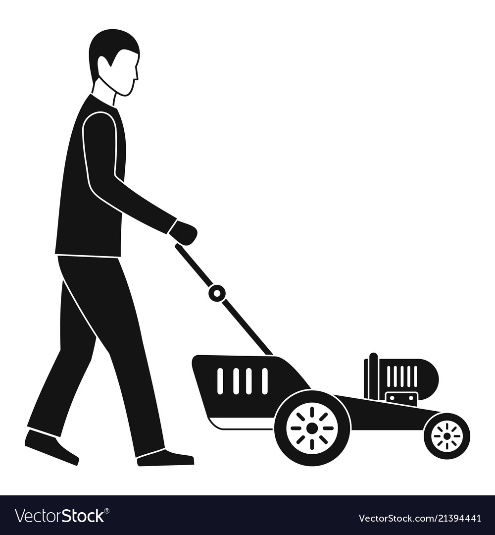 Man Hold Lawn Mower Icon Simple Style Royalty Free Vector