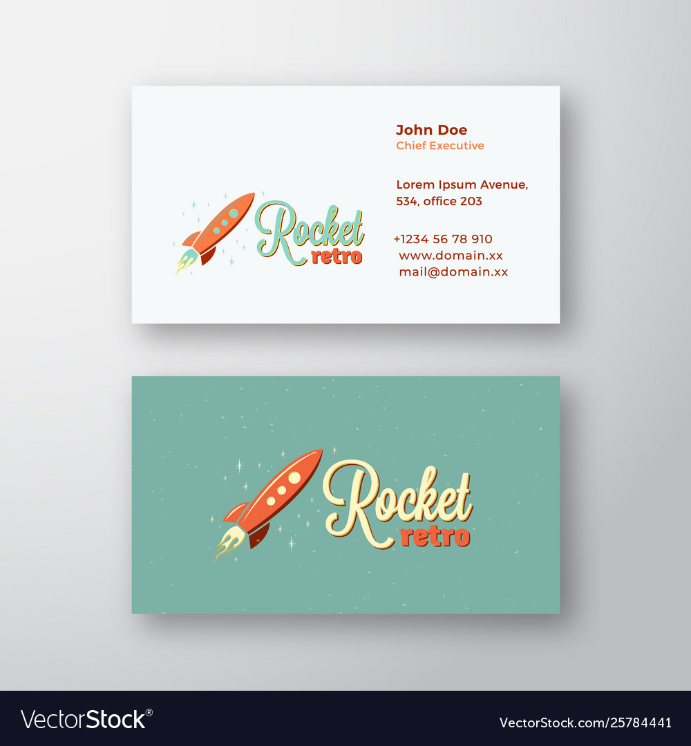 Retro rocket abstract sign or logo and