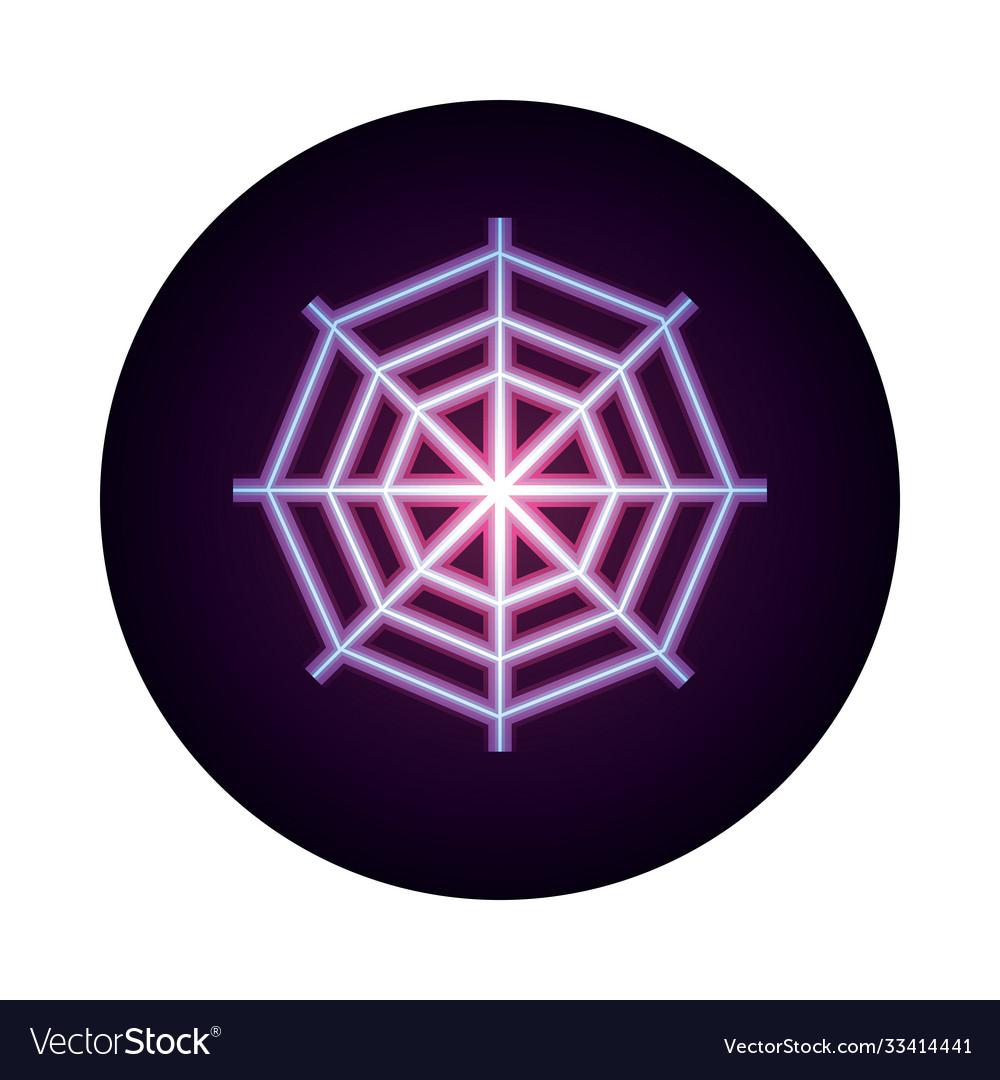 Spider web icon on white background neon icon