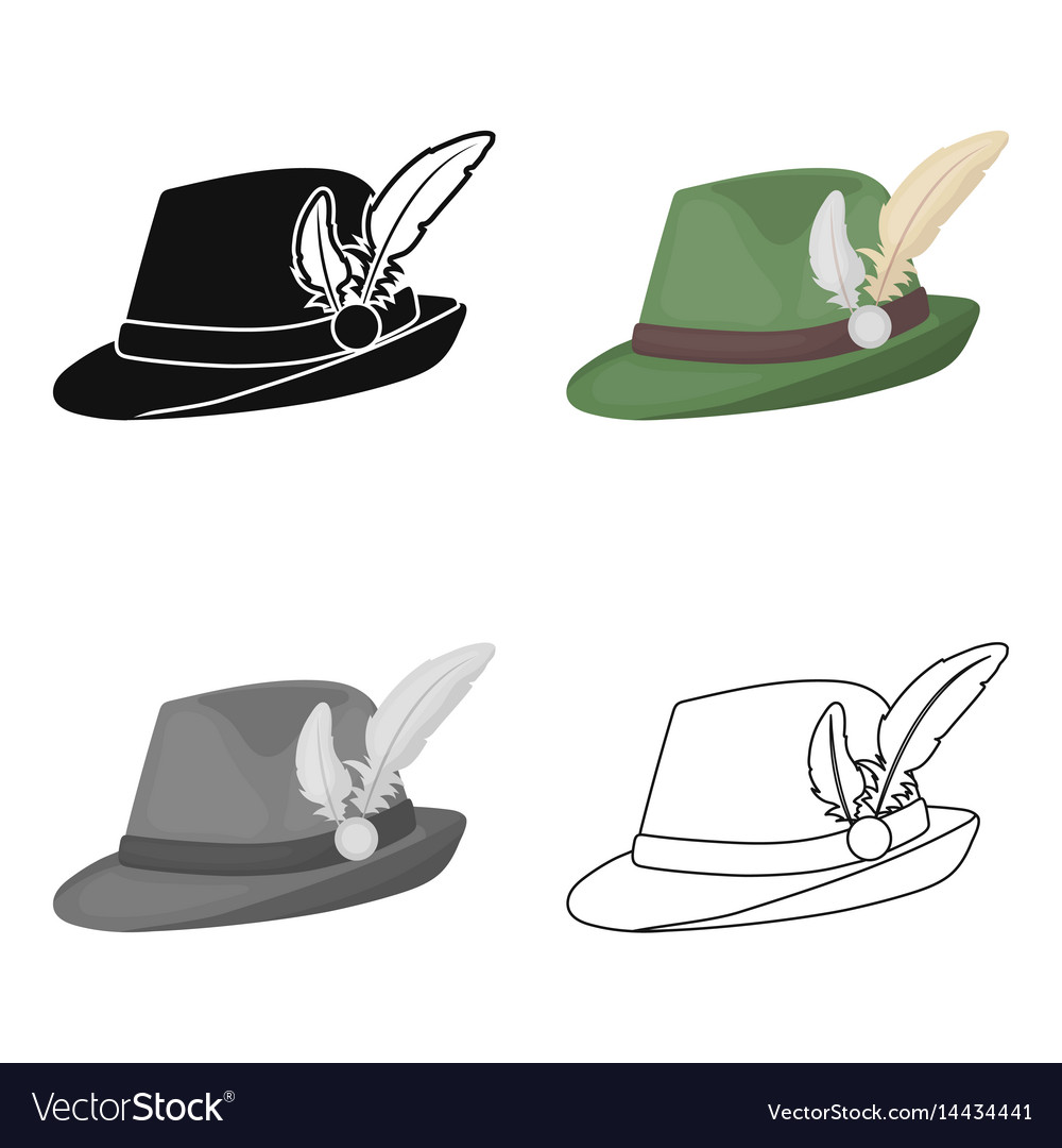 Tyrolean hat icon in cartoon style isolated on