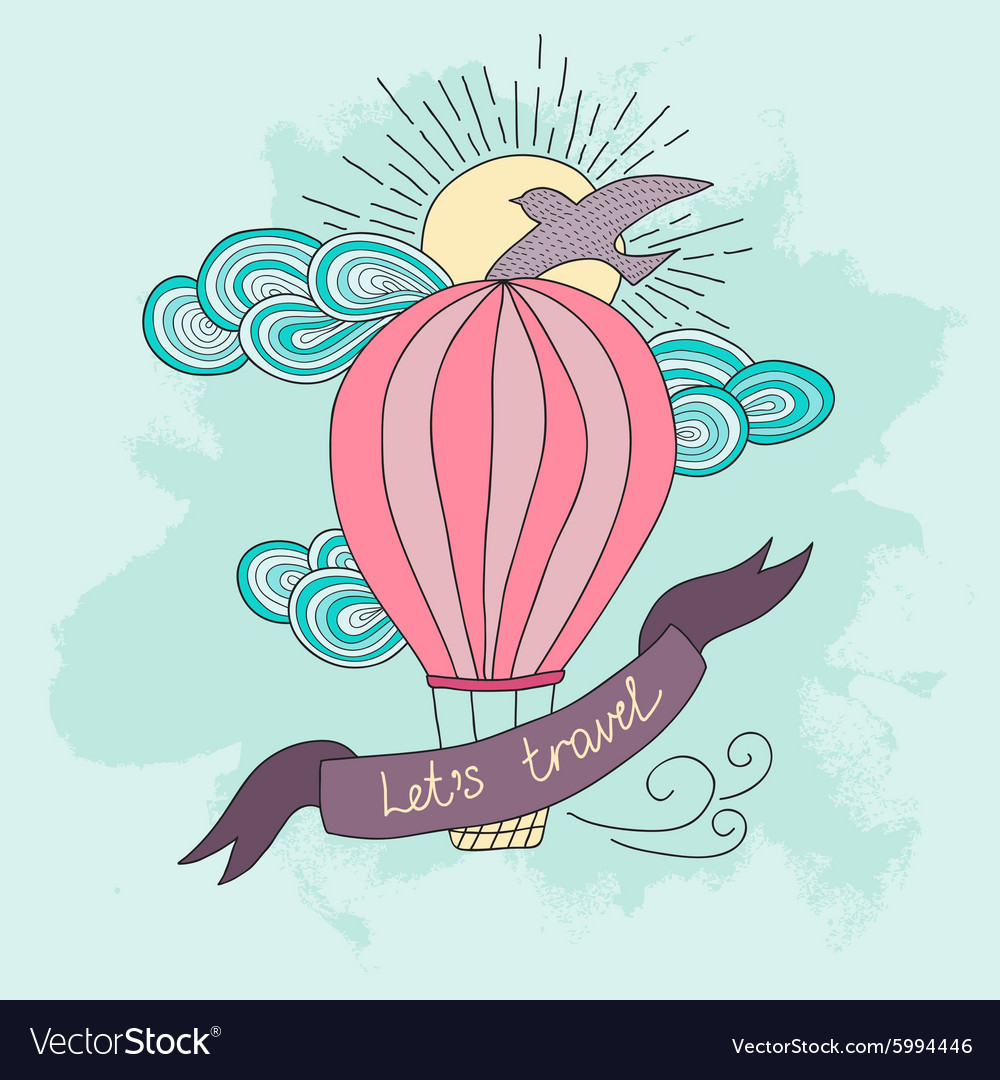 Background with hot air balloon and motivational