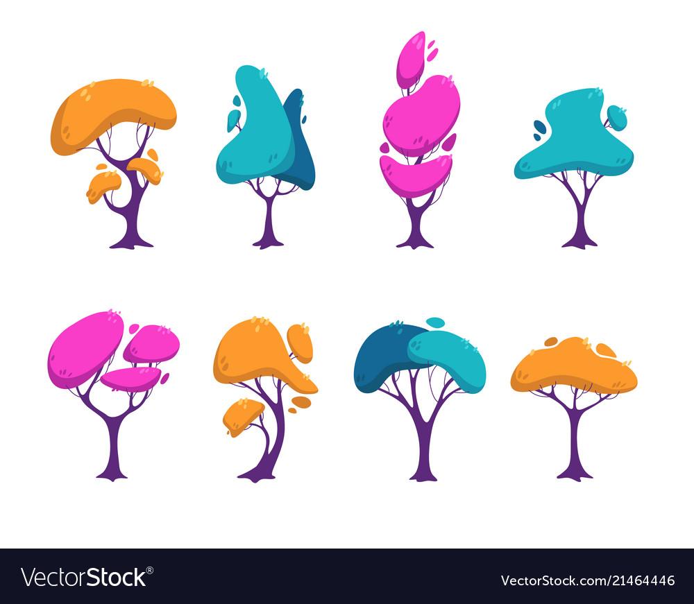 Beautiful stylized colorful trees set