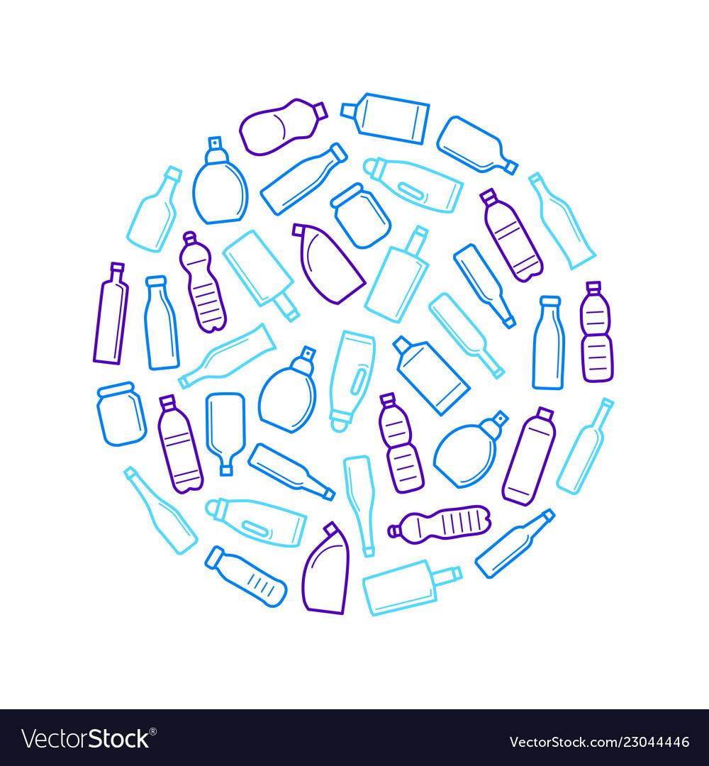 Bottles for liquid signs thin line round design