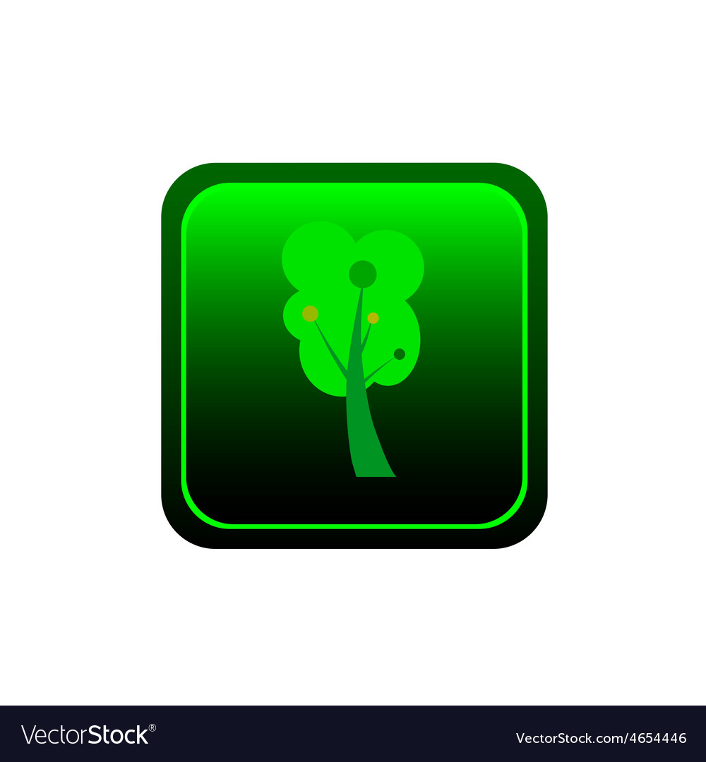 Button tree green vector image