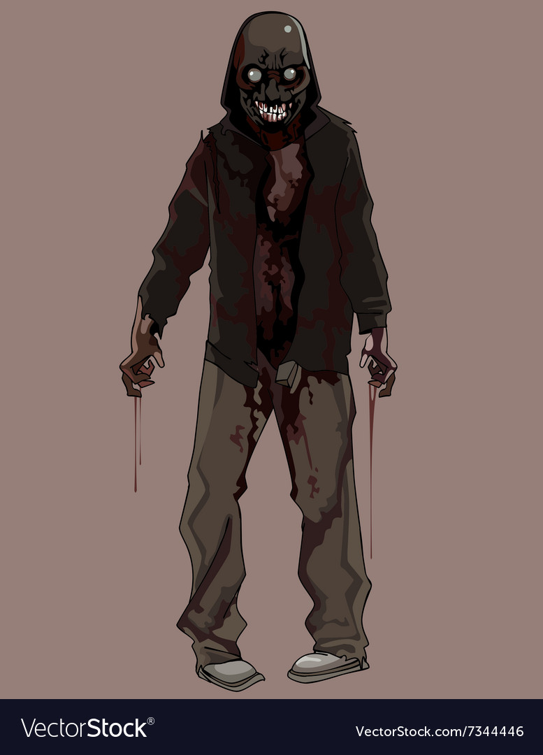 Cartoon terrible bloody zombie