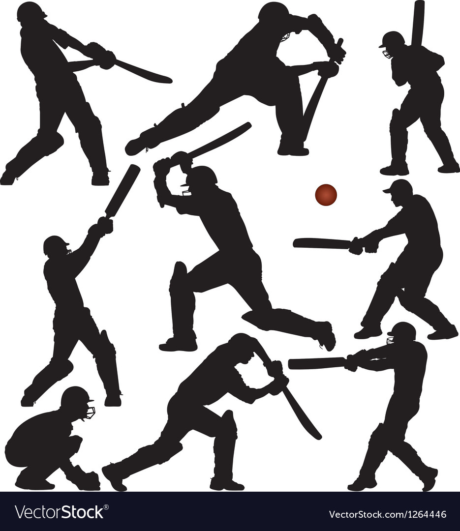 Cricket Sports Silhouettes