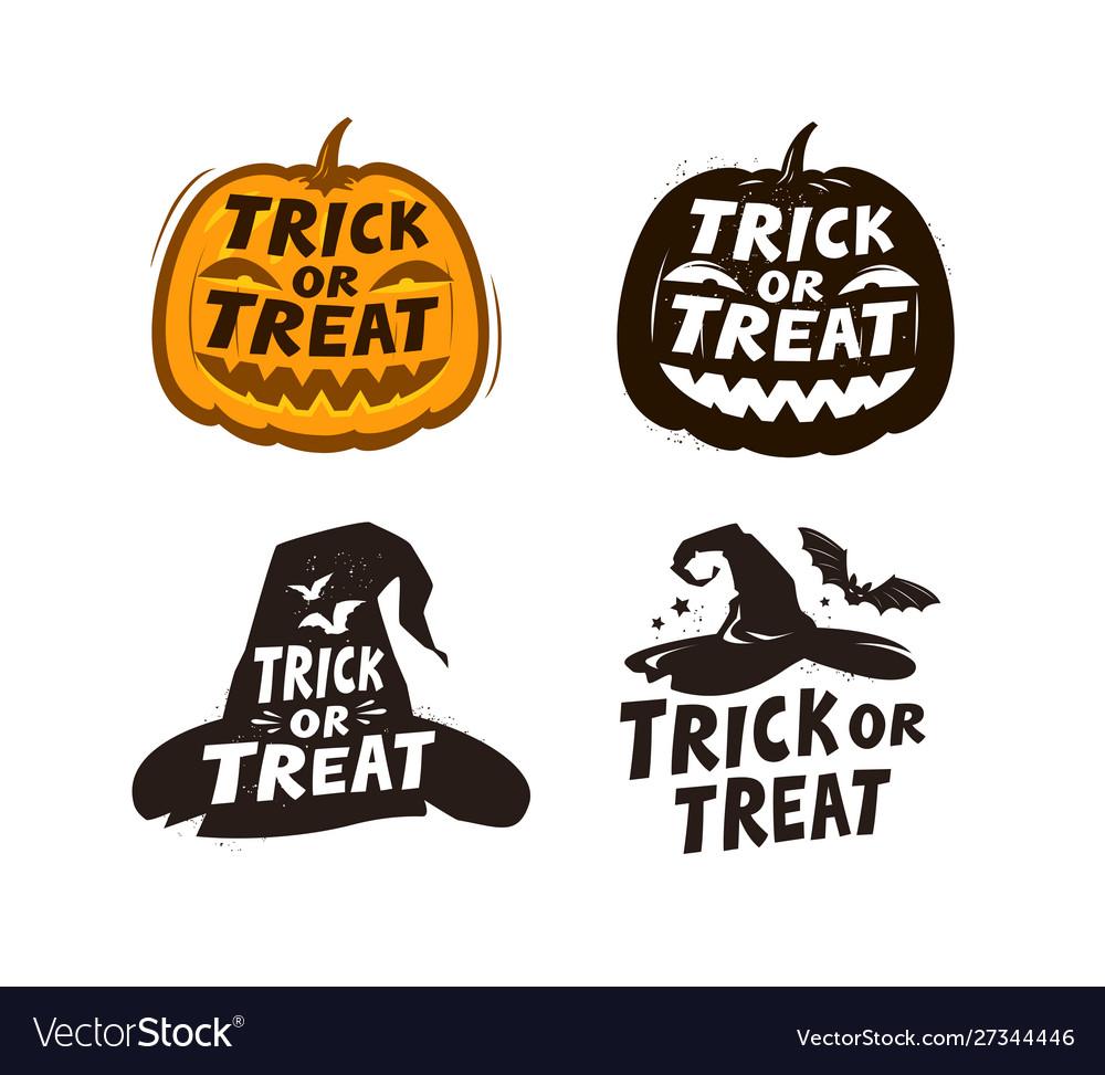 Halloween set labels trick or treat