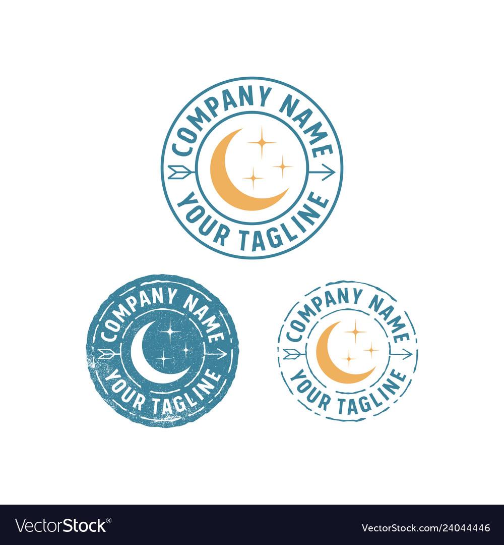Hipster moon emblem