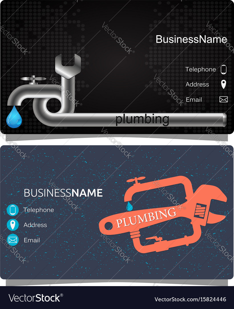 Plumbing Business Card Royalty Free Vector Image