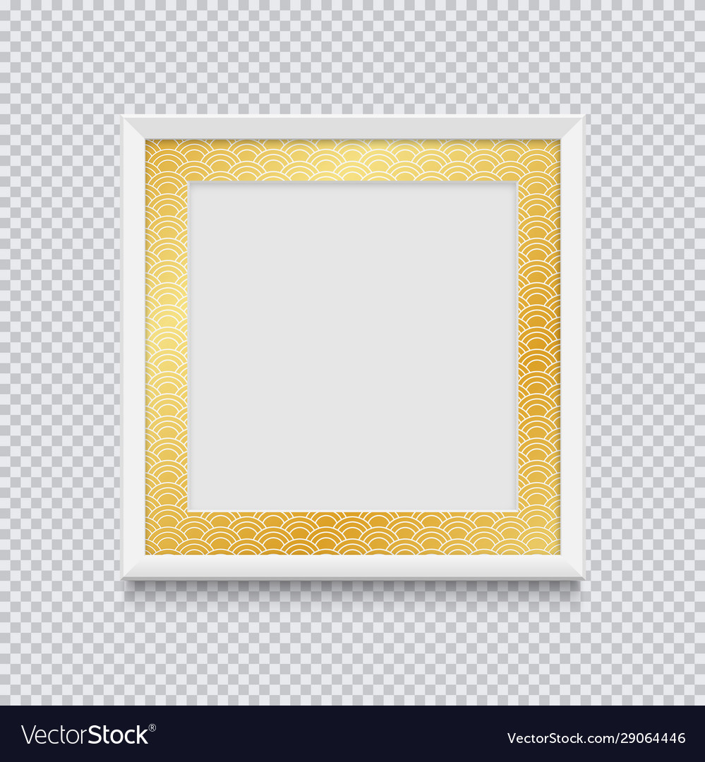 Realistic white square picture or photo frame