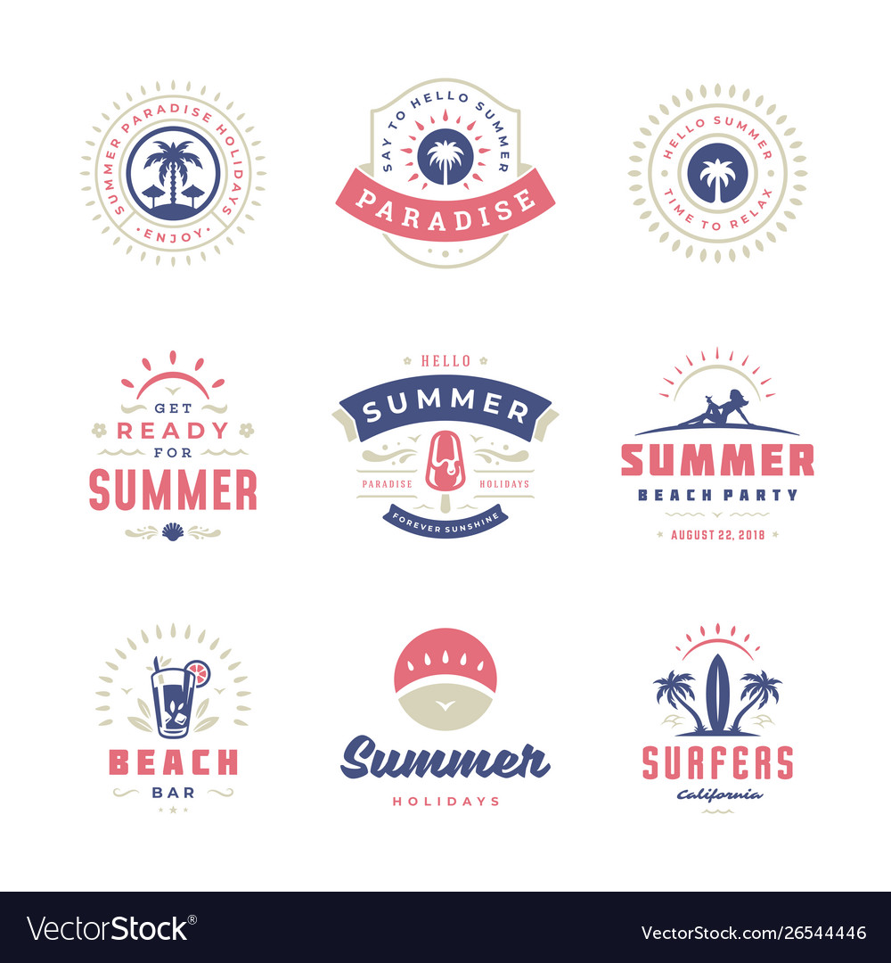 Summer holidays labels and badges retro typography