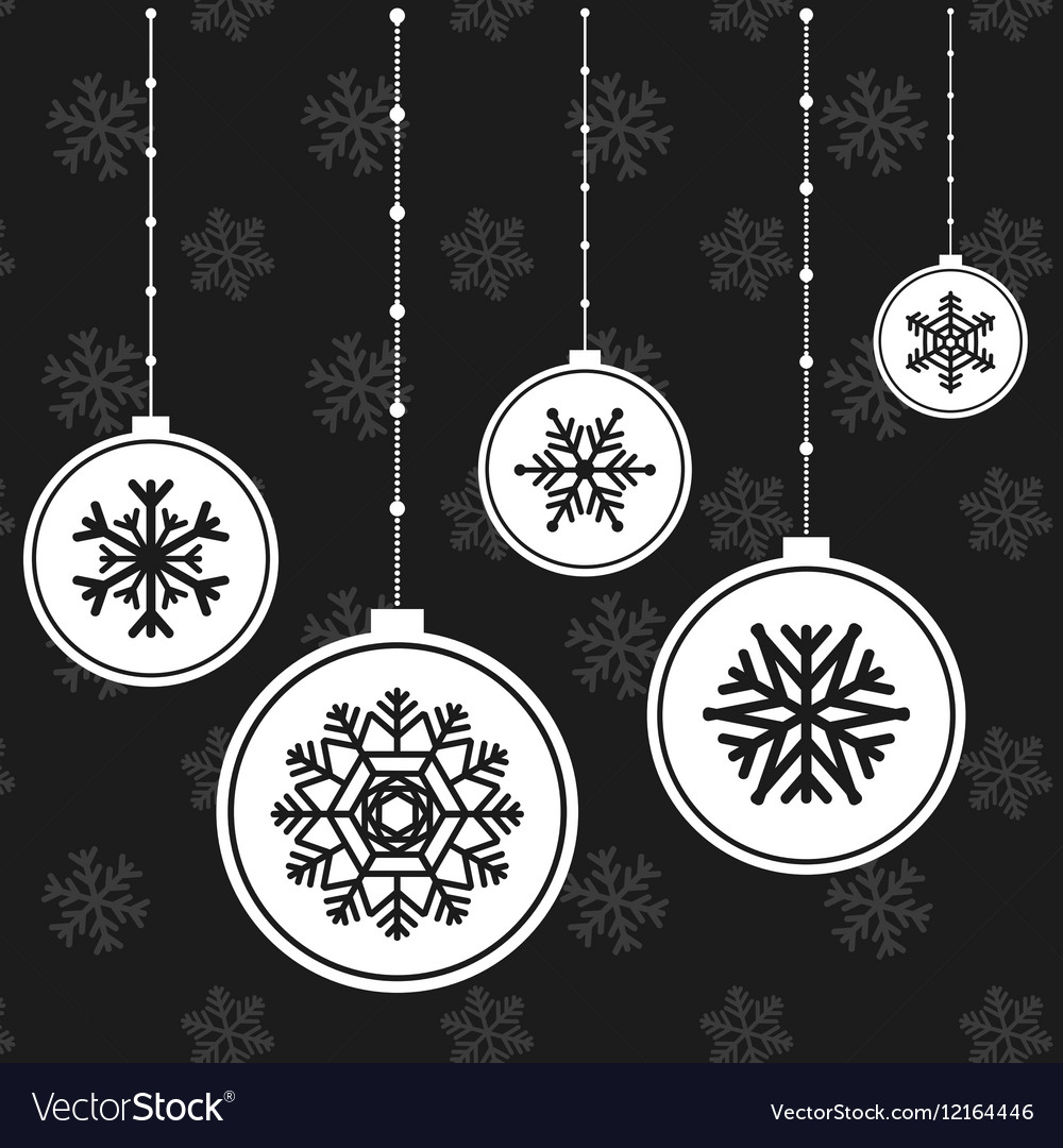 White christmas balls with snowflakes
