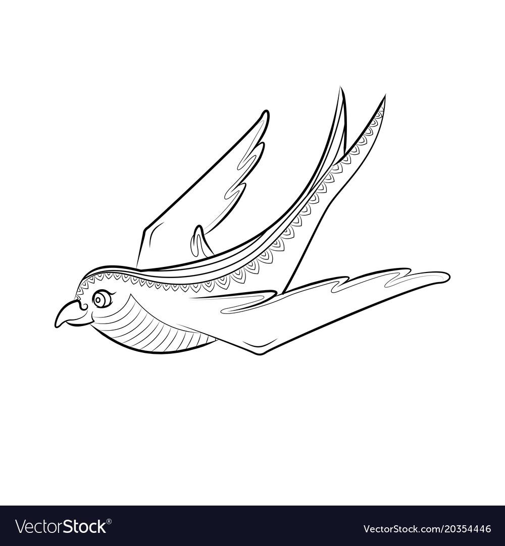 - Zen Tangle Swallow Zentangle Bird Color Royalty Free Vector