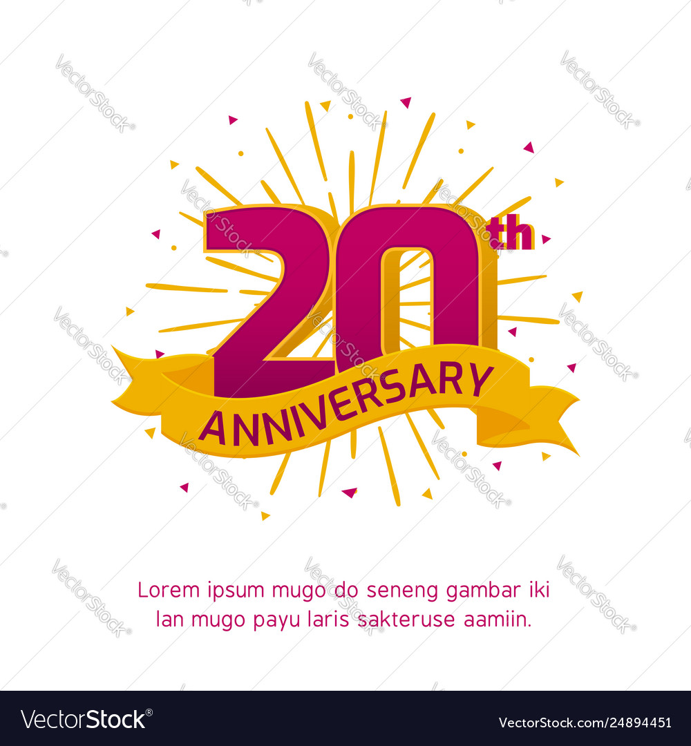 20th Anniversary Logo Badge Colorful Birthday Vector Image