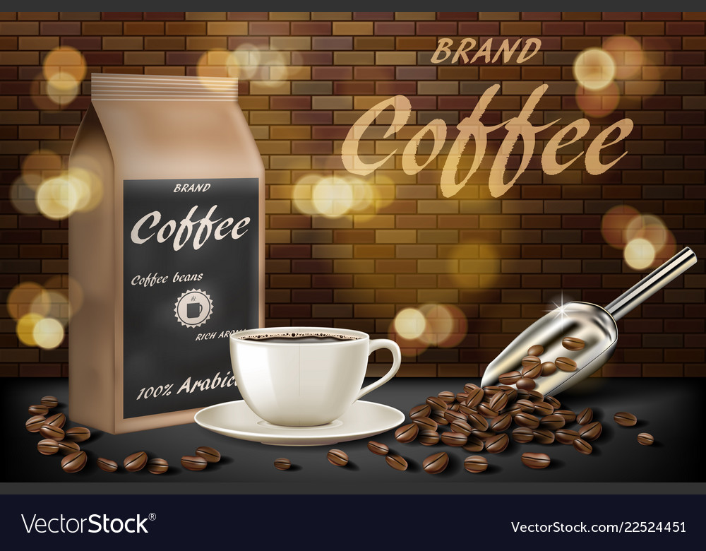 Coffee cup with beans ads 3d of hot