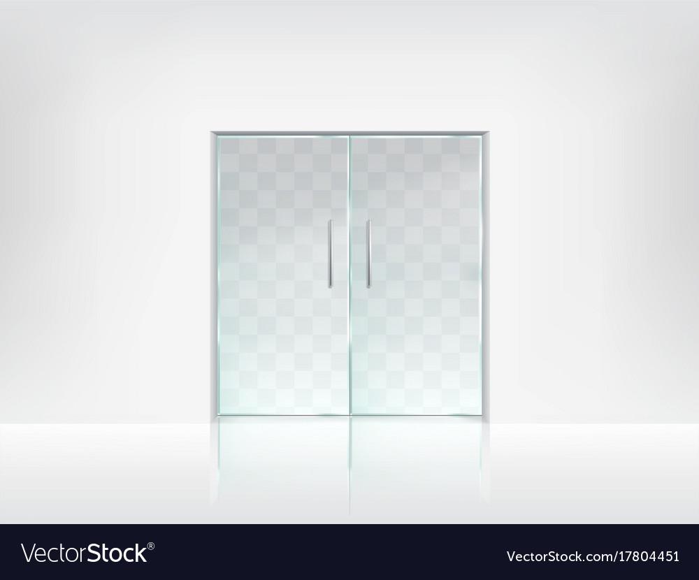 Double glass door transparent template