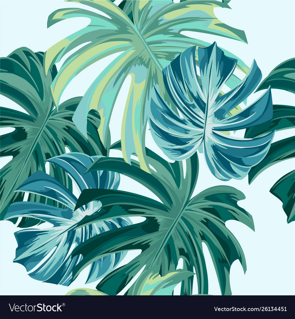 Fashion seamless pattern with monstera leaves