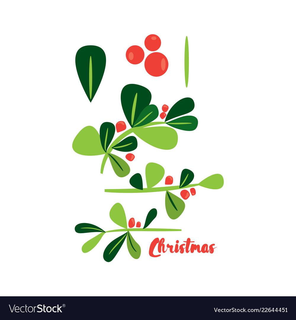 Holly berry christmas simbol design elements