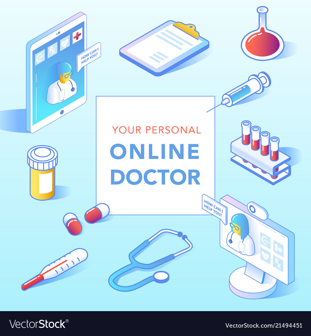 Online healthcare isometric concept medical