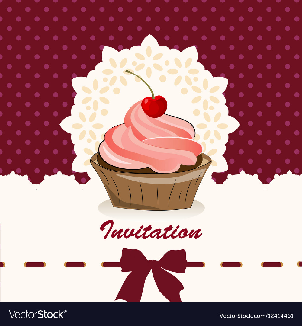 sweet cupcake invitation background royalty free vector
