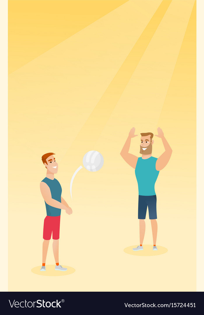 Two caucasian men playing beach volleyball
