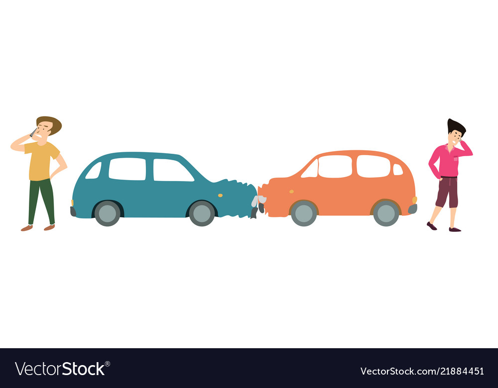 Two men with two cars accident cartoon
