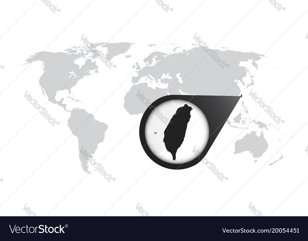 world map with zoom on taiwan map in loupe in vector image