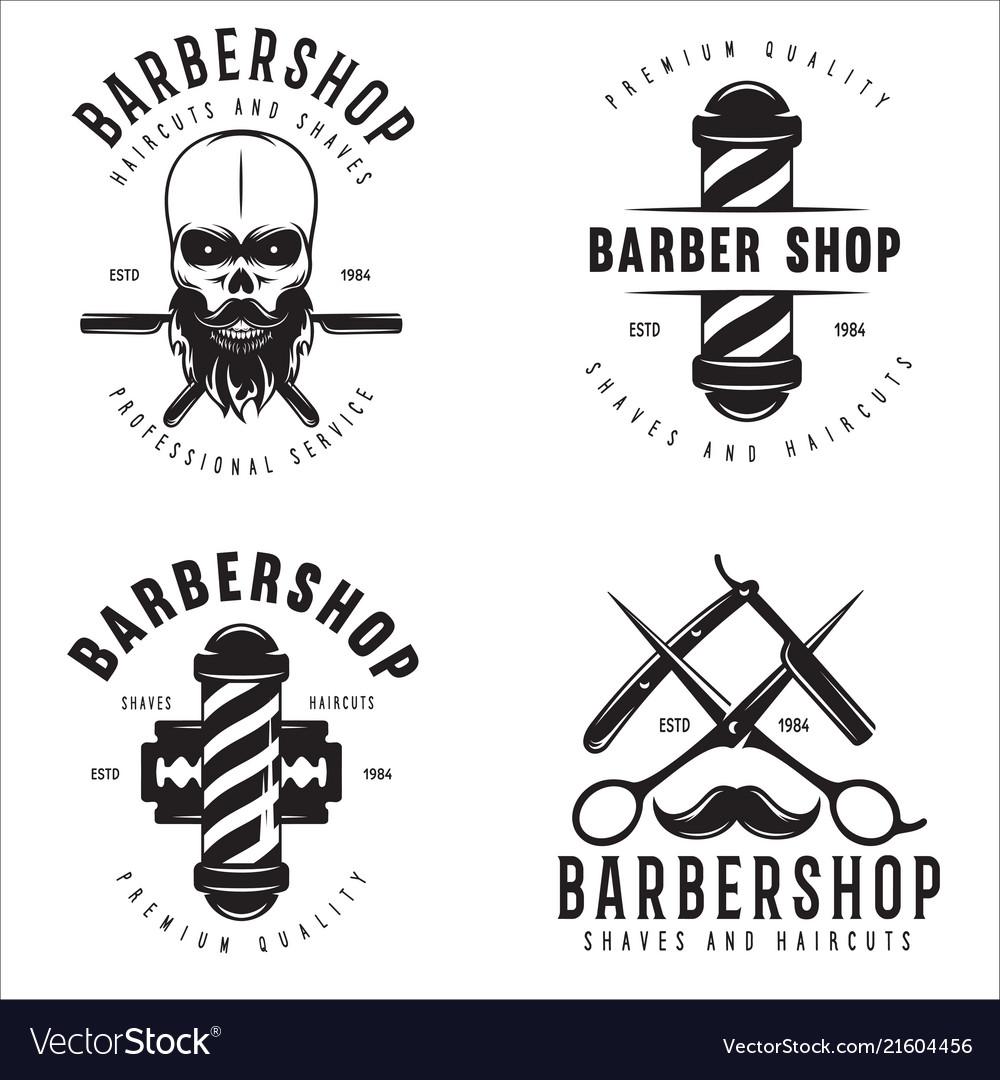 Barber shop badges set barbers hand lettering