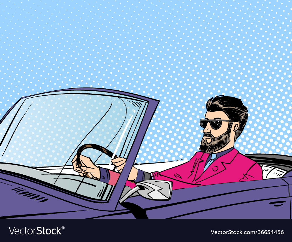 Bearded man wearing sunglasses driving cabriolet