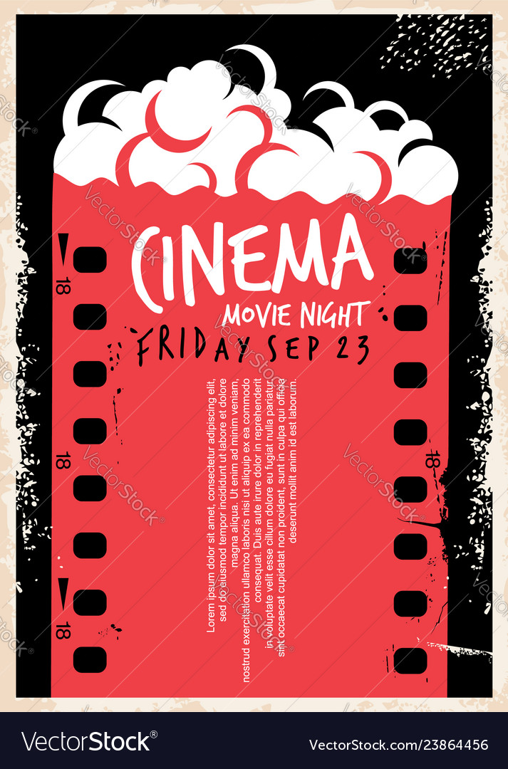 Cinema movie poster with film strip and pop corn
