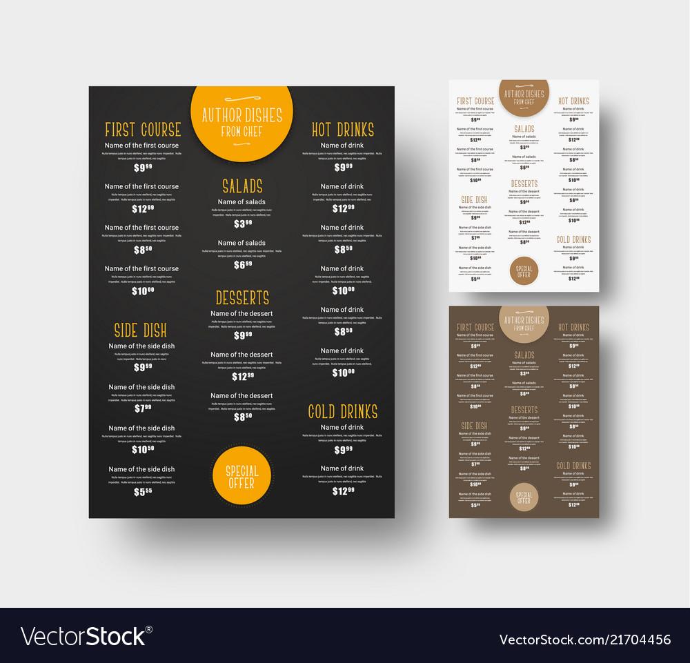 Design menu for cafes and restaurants