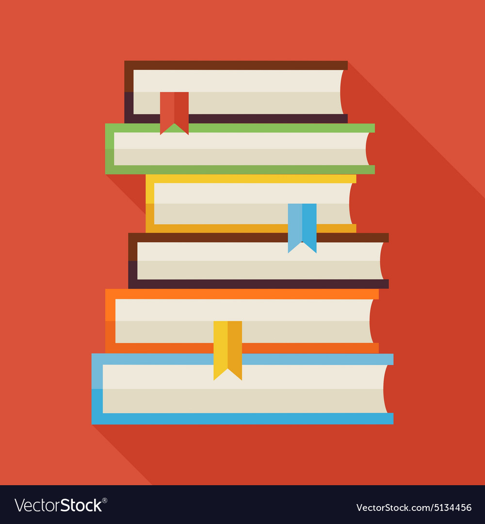 Flat Reading Books Knowledge with Shadow