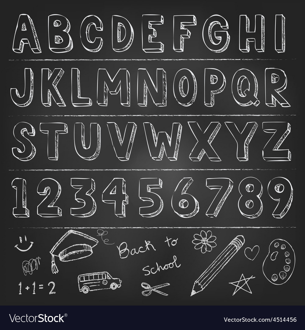 Hand drawn trendy letters alphabet back to school