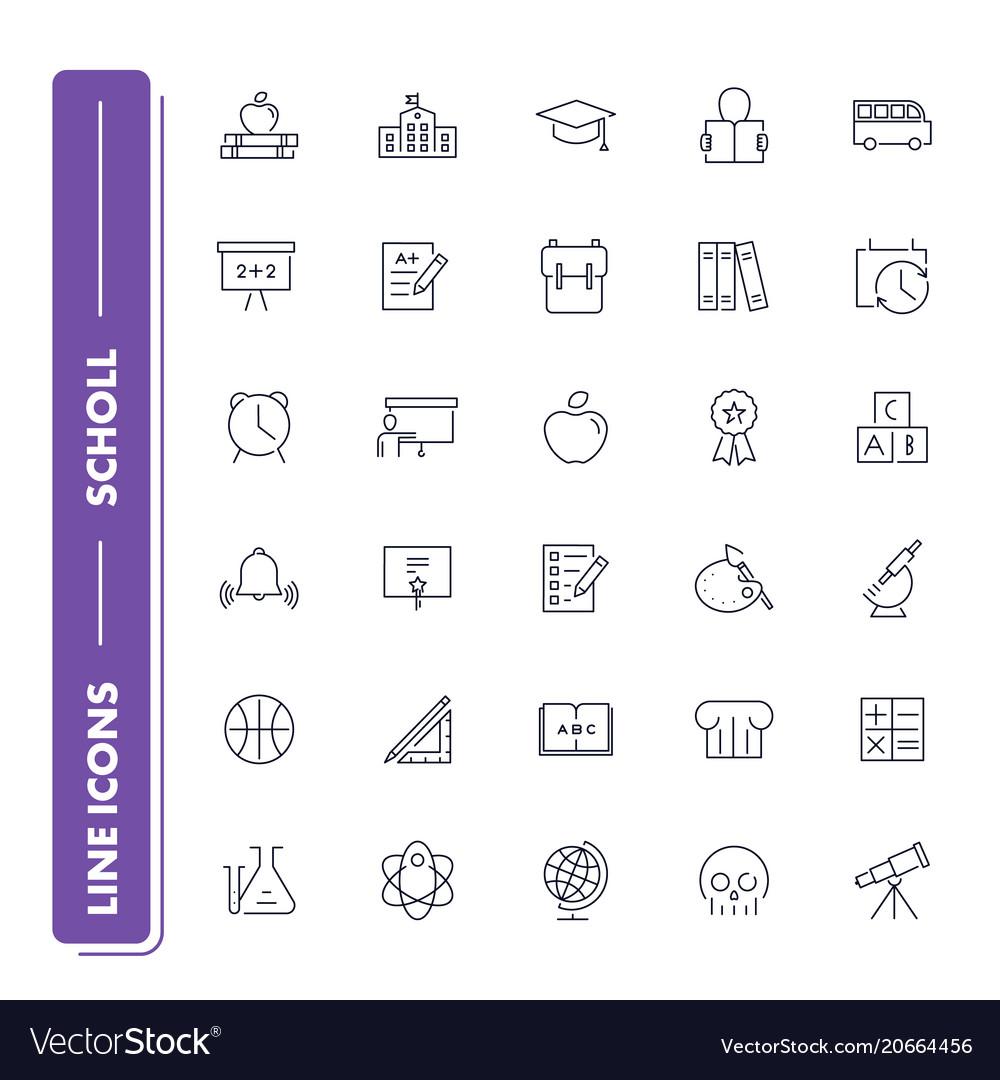 Line icons set school vector image