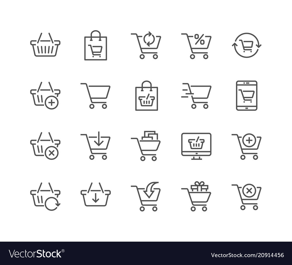 Line shopping cart icons