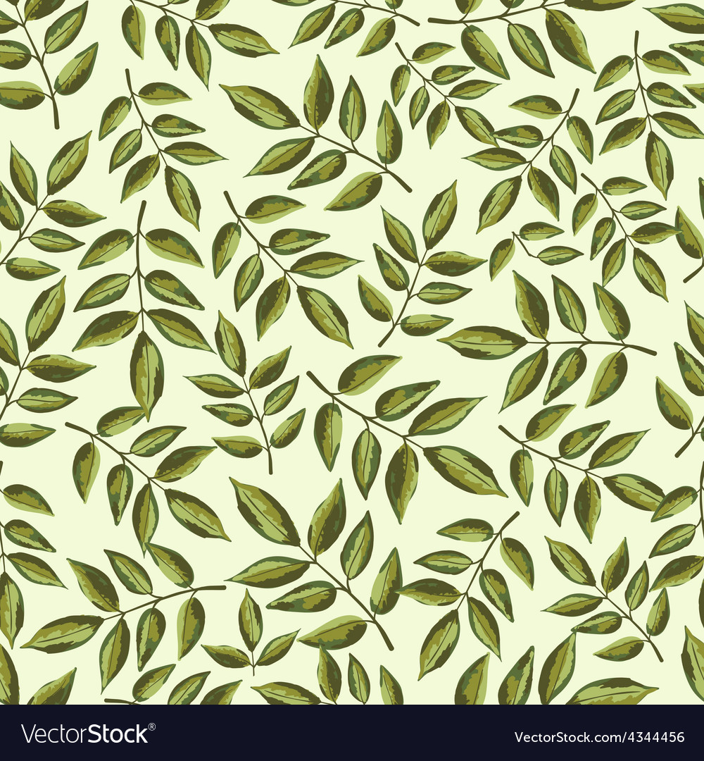 Seamless vintage pattern with painted leaves