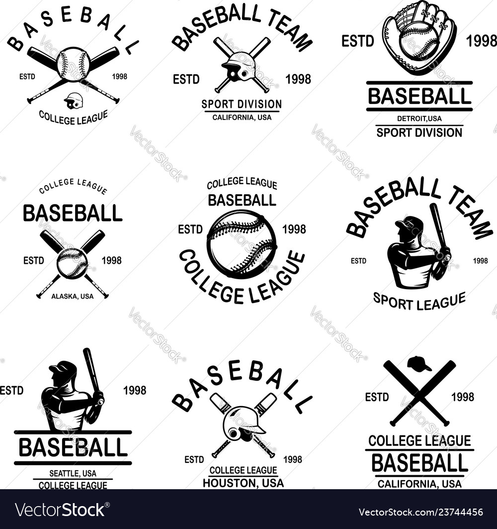 Set of baseball emblems design element for logo