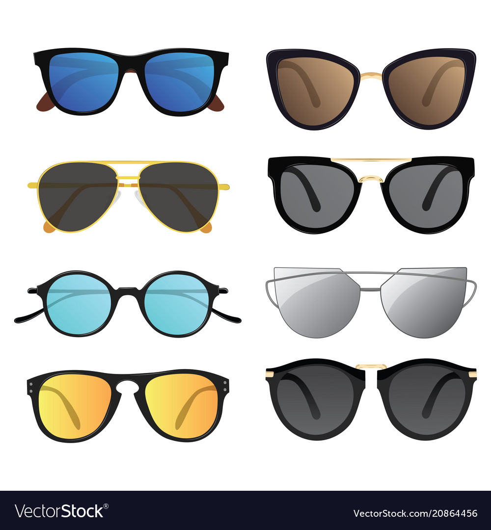 Set of sunglasses collection of stylish glasses