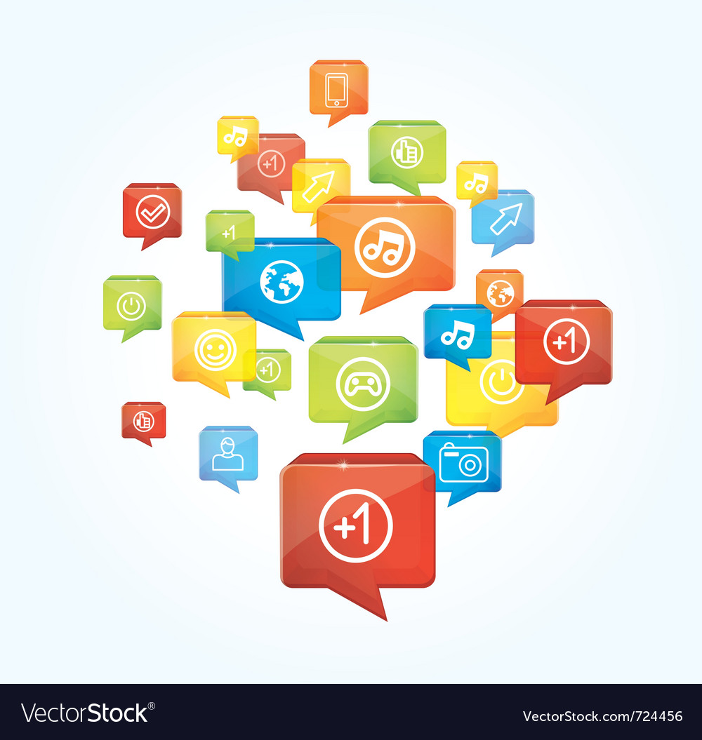 Social media background with speech bubbles vector image