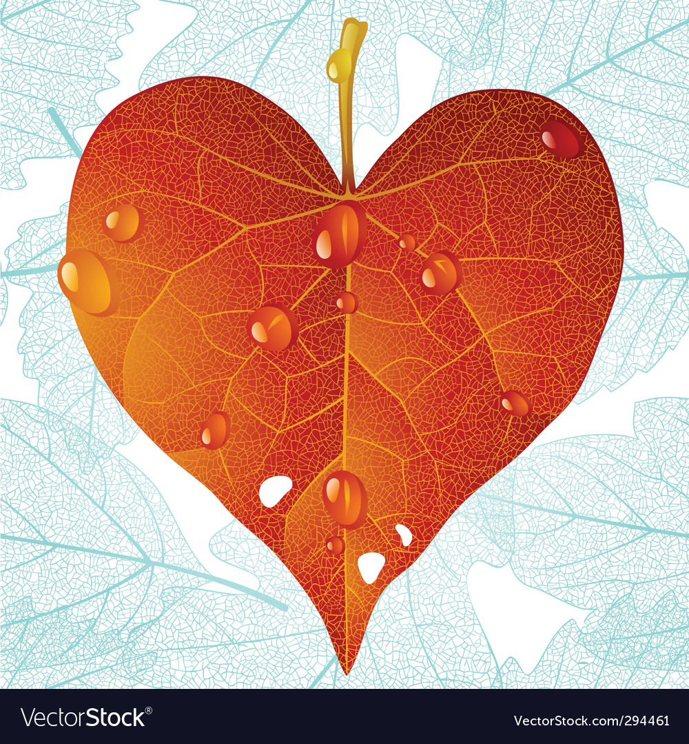Autumn heart and seamless