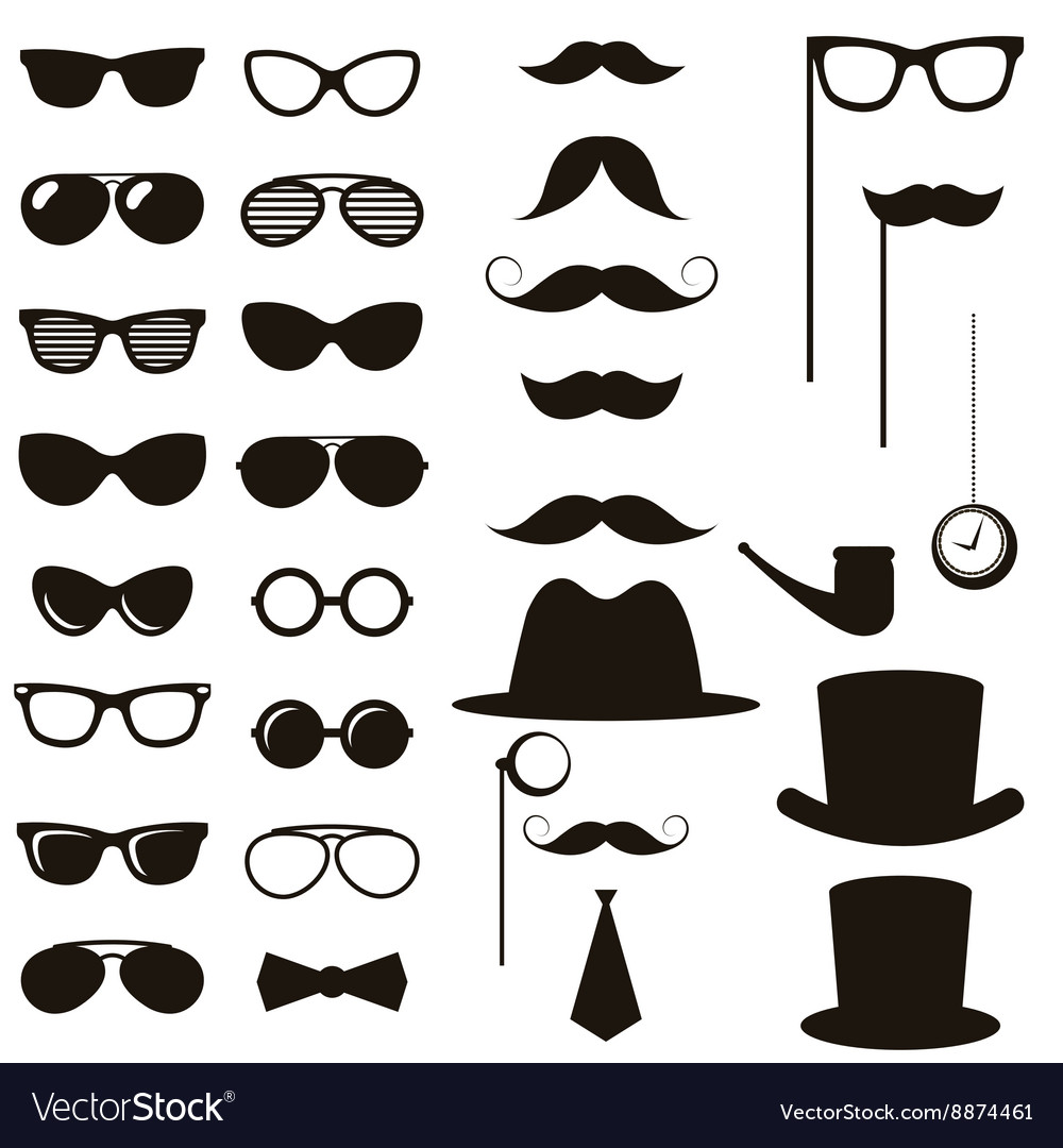 1a28a3270188ca Black retro gentleman elements set Royalty Free Vector Image