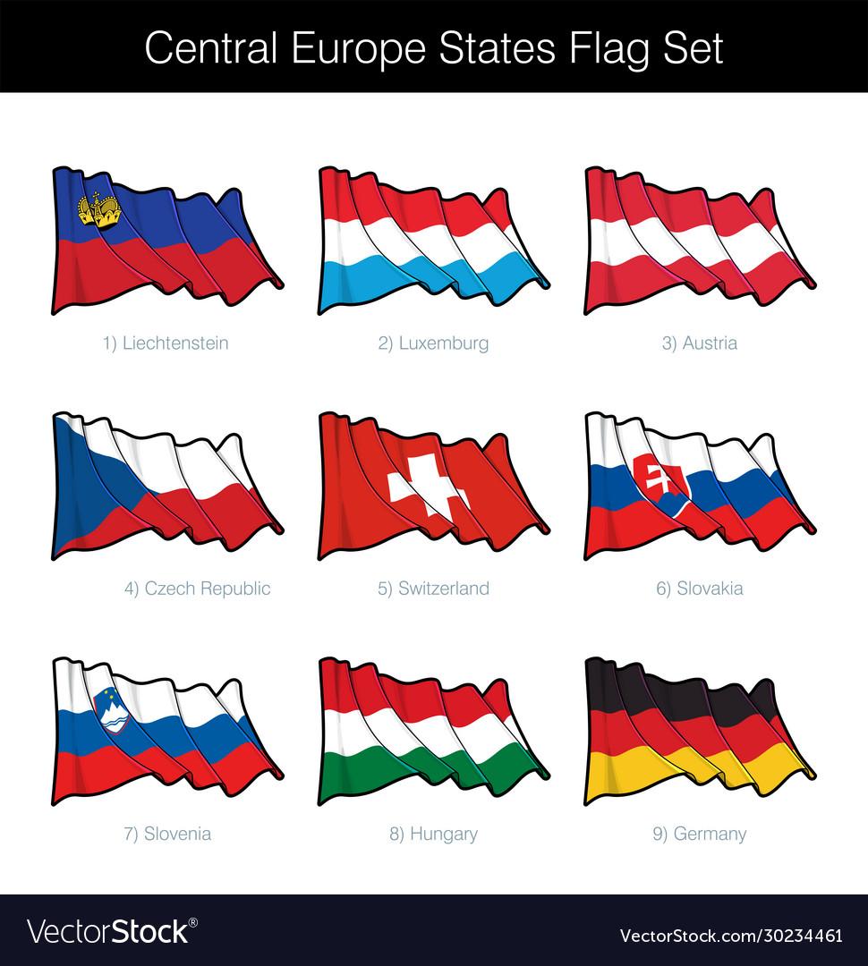 Central europe states waving flag set