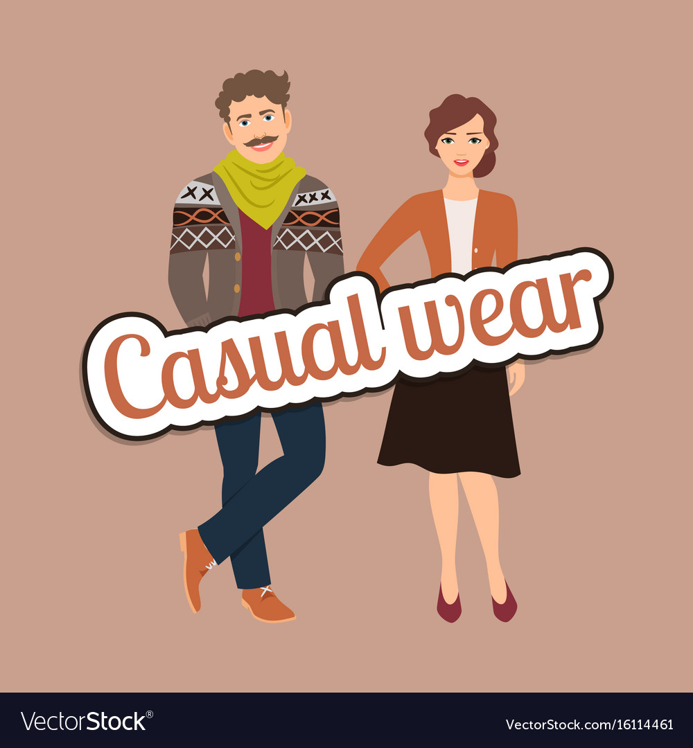 b3d030e1 Fashion couple in casual wear style Royalty Free Vector