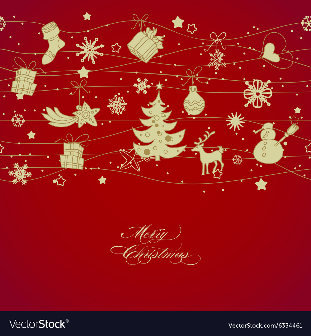 Golden Christmas decorations over red background