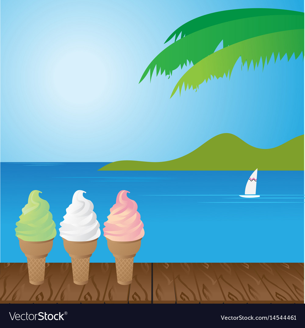Sea and ice cream vector image