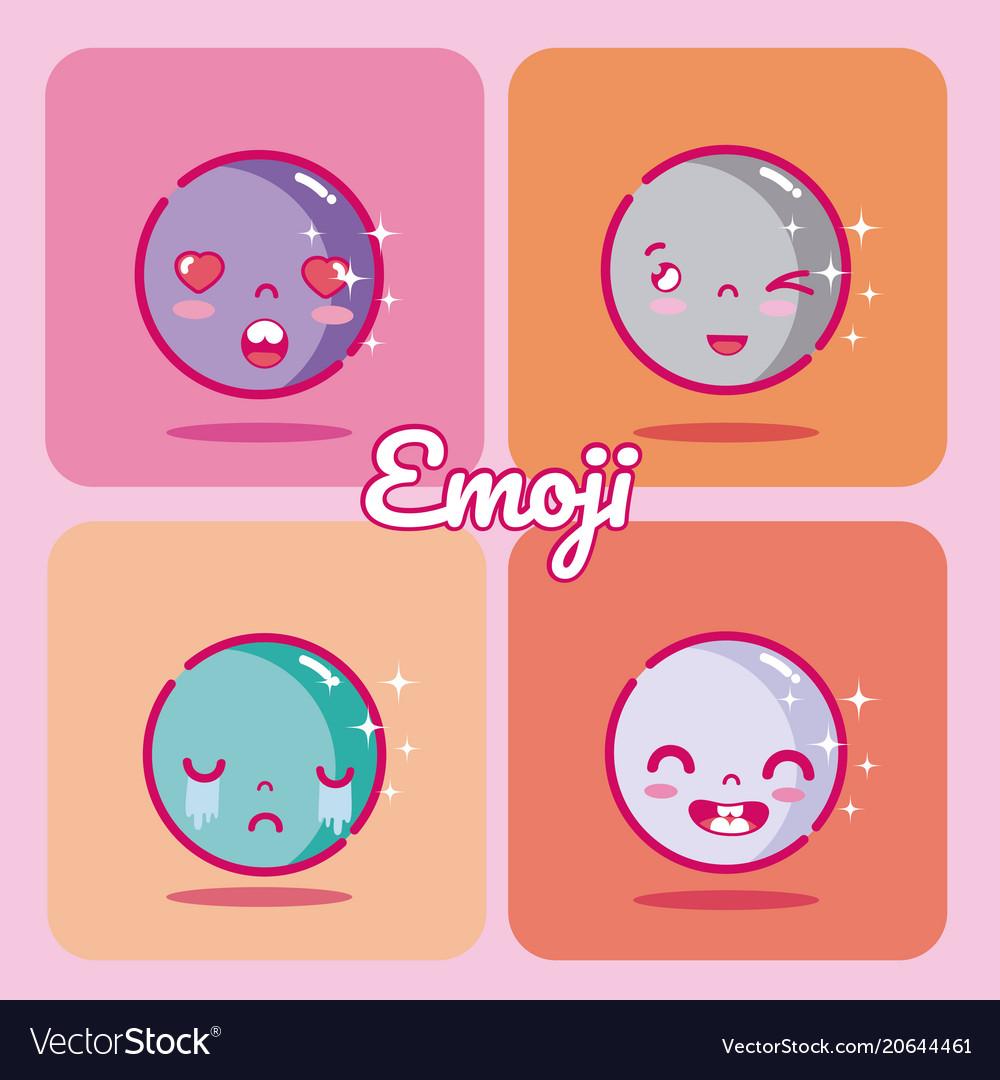 Set of cute emojis