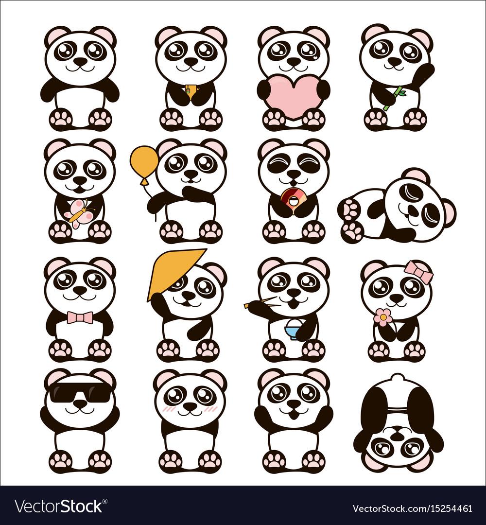 Set of cute pandas happy