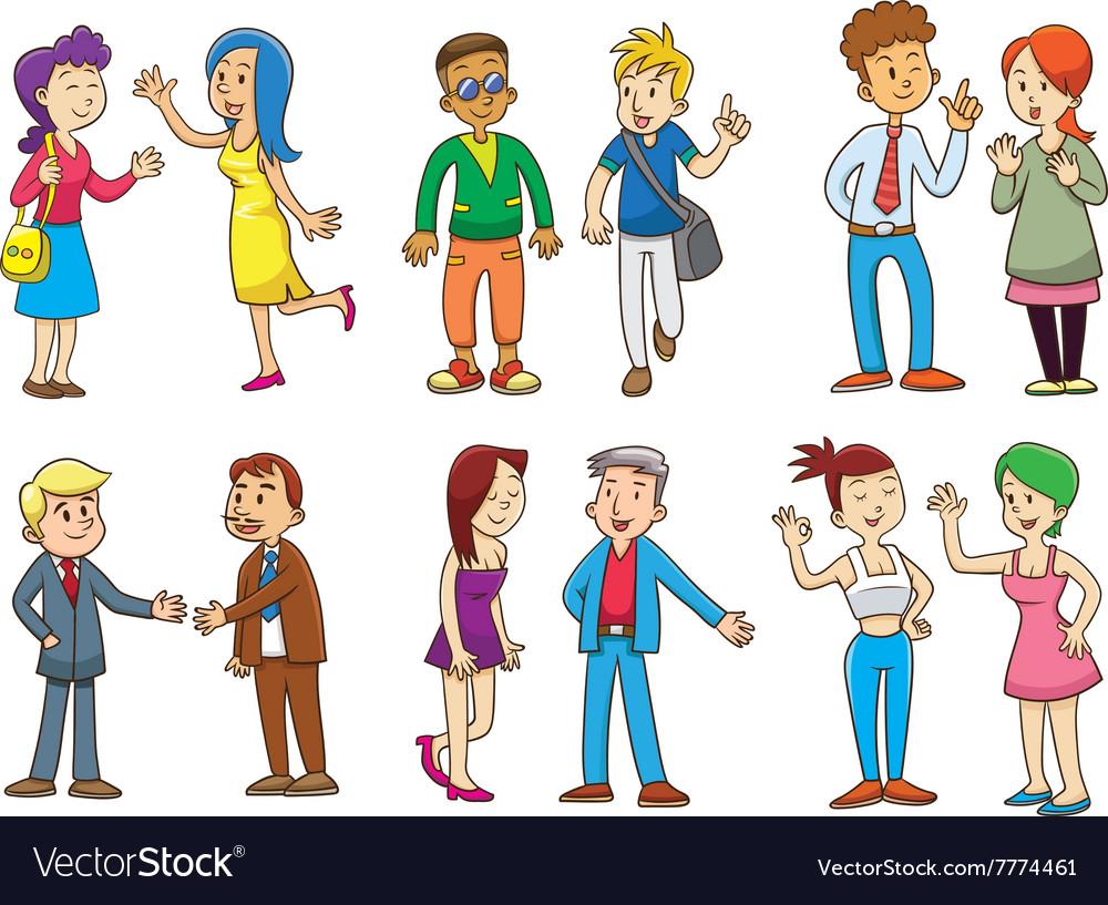 Set of people talking cartoon