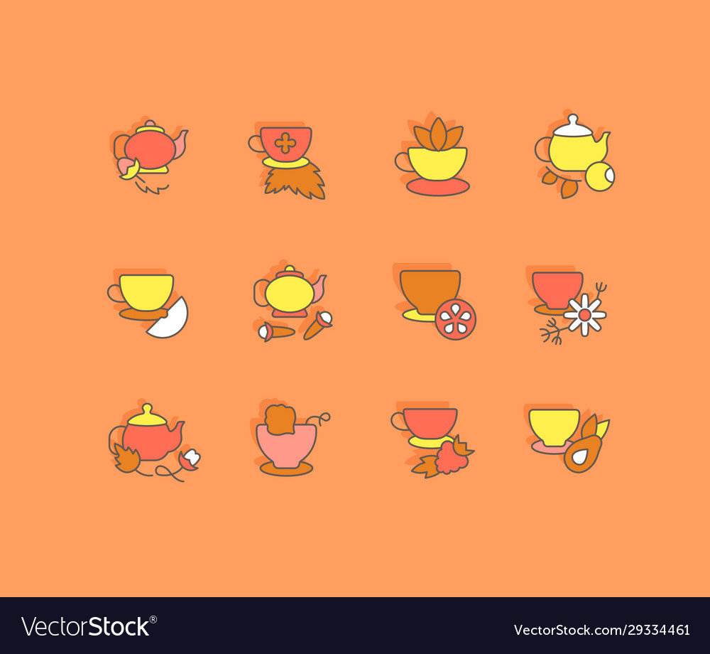 Set simple line icons tea vector